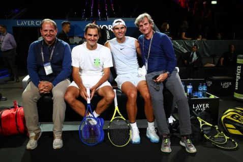 GENEVA, SWITZERLAND - SEPTEMBER 18: (L-R) Tony Godsick, agent of Roger Federer and President and CEO of TEAM8 and Chairman of the Laver Cup, Roger Federer, Rafael Nadal and Carlos Costa, agent of Rafael Nadal pose for a picture during a practice session prior to the Laver Cup 2019 at Palexpo, on September 18, 2019 in Geneva, Switzerland. (The Laver Cup consists of six players from the rest of the World competing against their counterparts from Europe. John McEnroe will captain the Rest of the World team and Europe will be captained by Bjorn Borg) The event runs from 20-22 Sept. (Photo by Clive Brunskill/Getty Images for Laver Cup)
