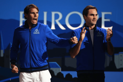 GENEVA, SWITZERLAND - SEPTEMBER 20: Rafael Nadal of Team Europe and teammate Roger Federer celebrate during the singles match between Stefanos Tsitsipas of Team Europe and Taylor Fritz of Team World during Day One of the Laver Cup 2019 at Palexpo on September 20, 2019 in Geneva, Switzerland. The Laver Cup will see six players from the rest of the World competing against their counterparts from Europe. Team World is captained by John McEnroe and Team Europe is captained by Bjorn Borg. The tournament runs from September 20-22. (Photo by Julian Finney/Getty Images for Laver Cup)