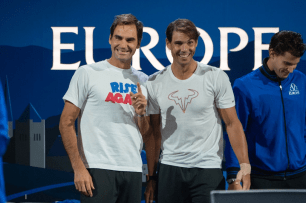 GENEVA, SWITZERLAND - SEPTEMBER 20: Roger Federer and Rafael Nadal of Team Europe looks on during Day 1 of the Laver Cup 2019 at Palexpo on September 20, 2019 in Geneva, Switzerland. The Laver Cup will see six players from the rest of the World competing against their counterparts from Europe. Team World is captained by John McEnroe and Team Europe is captained by Bjorn Borg. The tournament runs from September 20-22. (Photo by RvS.Media/Robert Hradil/Getty Images)