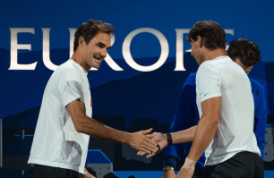GENEVA, SWITZERLAND - SEPTEMBER 20: Roger Federer and Rafael Nadal of Team Europe reacts during Day 1 of the Laver Cup 2019 at Palexpo on September 20, 2019 in Geneva, Switzerland. The Laver Cup will see six players from the rest of the World competing against their counterparts from Europe. Team World is captained by John McEnroe and Team Europe is captained by Bjorn Borg. The tournament runs from September 20-22. (Photo by RvS.Media/Robert Hradil/Getty Images)