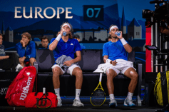 GENEVA, SWITZERLAND - SEPTEMBER 21: Stefanos Tsitsipas of Team Europe and Rafael Nadal of Team Europe take a breather and some water during Day 2 of the Laver Cup 2019 at Palexpo on September 21, 2019 in Geneva, Switzerland. The Laver Cup will see six players from the rest of the World competing against their counterparts from Europe. Team World is captained by John McEnroe and Team Europe is captained by Bjorn Borg. The tournament runs from September 20-22. (Photo by RvS.Media/Monika Majer/Getty Images)