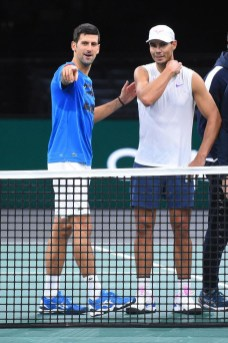 Rafael Nadal (ESP) and Novak Djokovic (SRB) were practicing together on center court at the 2019 Rolex Paris Masters in Paris, FRANCE, on October 26, 2019., Image: 479115366, License: Rights-managed, Restrictions: , Model Release: no, Credit line: Dubreuil Corinne/ABACA / Abaca Press / Profimedia