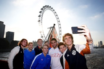 LONDON, ENGLAND - NOVEMBER 08: (R-L) Alexander Zverev of Germany, Dominic Thiem of Austria, Matteo Berrettini of Italy, Novak Djokovic of Serbia, Daniil Medvedev of Russia. Roger Federer of Switzerland, Stefanos Tsitsipas of Greece and Rafael Nadal of Spain pose for a selfie on a boat on The River Thames during previews for the Nitto ATP World Tour Finals at The O2 Arena on November 08, 2019 in London, England. (Photo by Clive Brunskill/Getty Images)