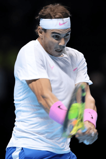 LONDON, ENGLAND - NOVEMBER 13: Rafael Nadal of Spain plays a backhand in his singles match against Daniil Medvedev of Russia during Day Four of the Nitto ATP World Tour Finals at The O2 Arena on November 13, 2019 in London, England. (Photo by James Chance/Getty Images)