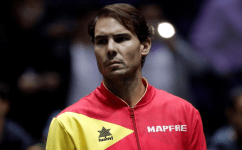 MADRID, SPAIN - NOVEMBER 24:Rafael Nadal of Spain is seen during the 2019 Davis Cup final tennis match between Canada and Spain, during Day Seven of the 2019 Davis Cup at La Caja Magica on November 24, 2019 in Madrid, Spain. (Photo by Burak Akbulut/Anadolu Agency via Getty Images)