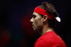 MADRID, SPAIN - NOVEMBER 20: Rafael Nadal of Spain looks on during the final match against Denis Shapovalov of Canada during the Day 7 of the 2019 Davis Cup at La Caja Magica on November 24, 2019 in Madrid, Spain. (Photo by Oscar J. Barroso / AFP7 / Europa Press Sports via Getty Images)
