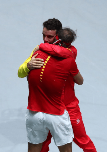 MADRID, SPAIN - NOVEMBER 24: Rafael Nadal of Spain celebrates victory with team mate Roberto Bautista Agut following his singles final match against Denis Shapovalov of Canada which leads Spain to victory during Day Seven of the 2019 Davis Cup at La Caja Magica on November 24, 2019 in Madrid, Spain. (Photo by Clive Brunskill/Getty Images)