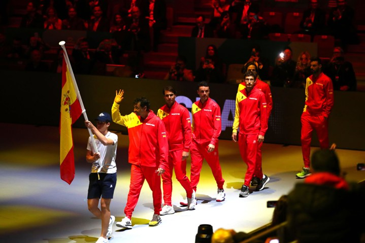 MADRID, SPAIN - NOVEMBER 18: Team Spain during the opening ceremony ahead of Day one of the 2019 David Cup at La Caja Magica on November 18, 2019 in Madrid, Spain. (Photo by Clive Brunskill/Getty Images)