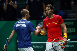 MADRID, SPAIN - NOVEMBER 23: Dan Evans of Great Britain and Rafael Nadal of Spain shake hands following their semi-final singles match during Day Six of the 2019 Davis Cup at La Caja Magica on November 23, 2019 in Madrid, Spain. (Photo by Clive Brunskill/Getty Images for LTA)
