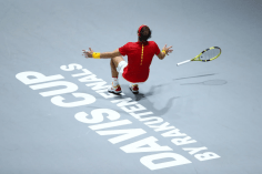 MADRID, SPAIN - NOVEMBER 24: Rafael Nadal of Spain celebrates match point in his singles final match against Denis Shapovalov of Canada which leads Spain to victory during Day Seven of the 2019 Davis Cup at La Caja Magica on November 24, 2019 in Madrid, Spain. (Photo by Clive Brunskill/Getty Images)