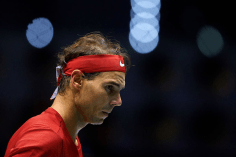 MADRID, SPAIN - NOVEMBER 19: Rafa Nadal of Spain looks on during his match against Karen Khachanov of Russia during Day two of the 2019 Davis Cup at La Caja Magica on November 19, 2019 in Madrid, Spain. (Photo by David Aliaga/MB Media/Getty Images)