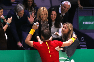 MADRID, SPAIN - NOVEMBER 24: Rafael Nadal of Spain celebrates victory with family in his singles match against Denis Shapovalov of Canada in the Final between Spain and Canada during Day Seven of the 2019 David Cup at La Caja Magica on November 24, 2019 in Madrid, Spain. (Photo by Alex Pantling/Getty Images)