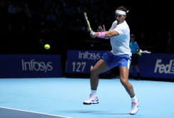 LONDON, ENGLAND - NOVEMBER 11: Rafael Nadal of Spain plays a forehand in his singles match against Alexander Zverev of Germany during Day Two of the Nitto ATP World Tour Finals at The O2 Arena on November 11, 2019 in London, England. (Photo by Naomi Baker/Getty Images)
