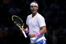 LONDON, ENGLAND - NOVEMBER 11: Rafael Nadal of Spain celebrates in his singles match against Alexander Zverev of Germany during Day Two of the Nitto ATP World Tour Finals at The O2 Arena on November 11, 2019 in London, England. (Photo by Julian Finney/Getty Images)