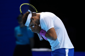 LONDON, ENGLAND - NOVEMBER 11: Rafael Nadal of Spain reacts in his singles match against Alexander Zverev of Germany during Day Two of the Nitto ATP World Tour Finals at The O2 Arena on November 11, 2019 in London, England. (Photo by Julian Finney/Getty Images)
