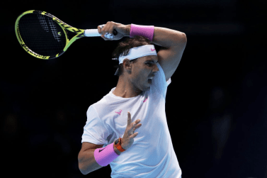 LONDON, ENGLAND - NOVEMBER 11: Rafael Nadal of Spain plays a forehand in his singles match against Alexander Zverev of Germany during Day Two of the Nitto ATP World Tour Finals at The O2 Arena on November 11, 2019 in London, England. (Photo by Julian Finney/Getty Images)