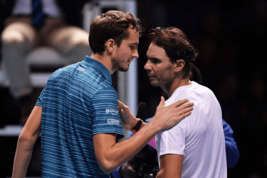 LONDON, ENGLAND - NOVEMBER 13: Rafael Nadal of Spain and Daniil Medvedev of Russia embrace at the net after their singles match during Day Four of the Nitto ATP World Tour Finals at The O2 Arena on November 13, 2019 in London, England. (Photo by Justin Setterfield/Getty Images)