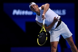 LONDON, ENGLAND - NOVEMBER 09: Rafael Nadal of Spain serves during practice ahead of the Nitto ATP World Tour Finals at The O2 Arena on November 09, 2019 in London, England. (Photo by Justin Setterfield/Getty Images)
