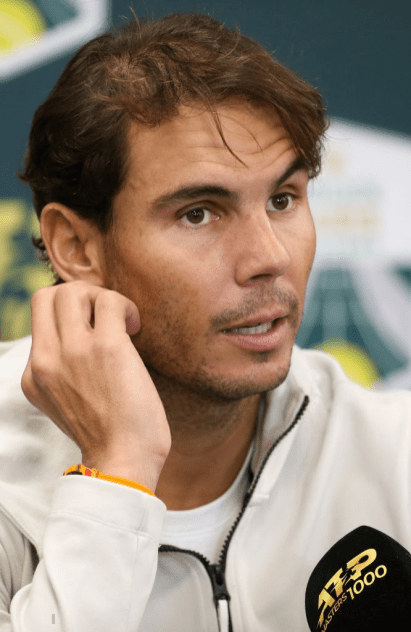 PARIS, FRANCE - NOVEMBER 2: Rafael Nadal of Spain - who retired before his semi-final due to an abdominal injury - answers to the media during day 6 of the Rolex Paris Masters 2019, an ATP World Tour Masters 1000 at AccorHotels Arena on November 2, 2019 in Paris, France. (Photo by Jean Catuffe/Getty Images)