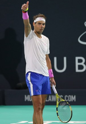 Spain's Rafael Nadal gestures during the Mubadala World Tennis Championship Final at Zayed Sports City in Abu Dhabi, on December 21, 2019. (Photo by - / AFP) (Photo by -/AFP via Getty Images)