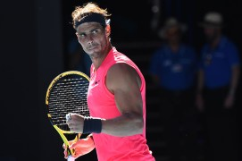 Spain's Rafael Nadal celebrates after beating Spain's Pablo Carreno Busta during their men's singles match on day six of the Australian Open tennis tournament in Melbourne on January 25, 2020. (Photo by William WEST / AFP) / IMAGE RESTRICTED TO EDITORIAL USE - STRICTLY NO COMMERCIAL USE (Photo by WILLIAM WEST/AFP via Getty Images)