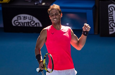 MELBOURNE, AUSTRALIA - JANUARY 25: Rafael Nadal of Spain celebrates his victory in the third round over Pablo Carreno Busta on day six of the 2020 Australian Open at Melbourne Park on January 25, 2020 in Melbourne, Australia. (Photo by TPN/Getty Images)