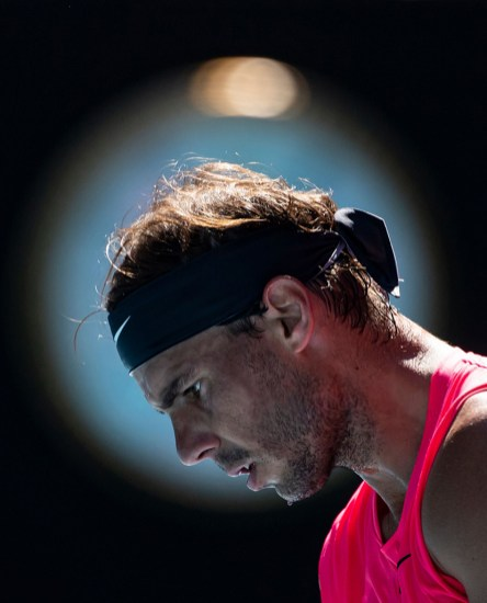 MELBOURNE, AUSTRALIA - JANUARY 25: Rafael Nadal of Spain prepares to serve in his third round match against Pablo Carreno Busta on day six of the 2020 Australian Open at Melbourne Park on January 25, 2020 in Melbourne, Australia. (Photo by TPN/Getty Images)