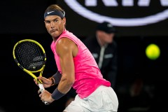 MELBOURNE, VIC - JANUARY 23: Rafael Nadal of Spain returns the ball during the second round of the 2020 Australian Open on January 23 2020, at Melbourne Park in Melbourne, Australia. (Photo by Jason Heidrich/Icon Sportswire via Getty Images)