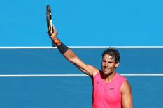 MELBOURNE, AUSTRALIA - JANUARY 25: : Rafael Nadal of Spain celebrates after winning his Men's Singles third round match against Pablo Carreno Busta of Spain on day six of the 2020 Australian Open at Melbourne Park on January 25, 2020 in Melbourne, Australia. (Photo by Kelly Defina/Getty Images)