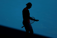 MELBOURNE, AUSTRALIA - JANUARY 25: Rafael Nadal of Spain prepares to serve during his Men's Singles third round match against Pablo Carreno Busta of Spain on day six of the 2020 Australian Open at Melbourne Park on January 25, 2020 in Melbourne, Australia. (Photo by Cameron Spencer/Getty Images)
