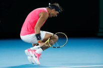 MELBOURNE, AUSTRALIA - JANUARY 29: Rafael Nadal of Spain celebrates winning the third set during his Men's Singles Quarterfinal match against Dominic Thiem of Austria on day ten of the 2020 Australian Open at Melbourne Park on January 29, 2020 in Melbourne, Australia. (Photo by Darrian Traynor/Getty Images)