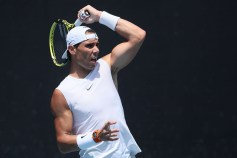 MELBOURNE, AUSTRALIA - JANUARY 26: Rafael Nadal of Spain plays a shot during a practice session on day seven of the 2020 Australian Open at Melbourne Park on January 26, 2020 in Melbourne, Australia. (Photo by Wayne Taylor/Getty Images)