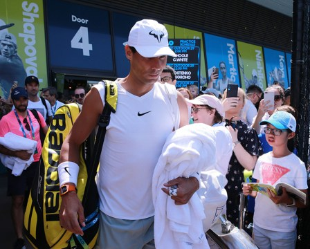 MELBOURNE, AUSTRALIA - JANUARY 26: Rafael Nadal of Spain walks onto court ahead of his practice session on day seven of the 2020 Australian Open at Melbourne Park on January 26, 2020 in Melbourne, Australia. (Photo by Wayne Taylor/Getty Images)