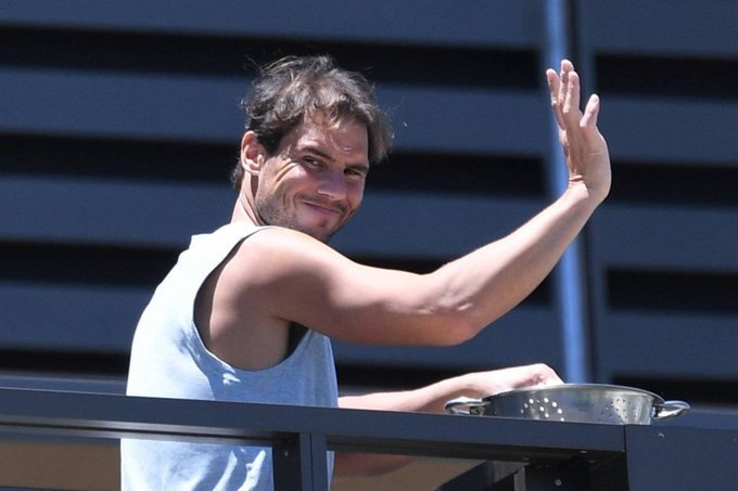 WATCH: Rafael Nadal waves at fans from his quarantine ...