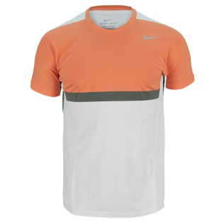 NIKE Men's Premier Rafa Tennis Crew White and Turf Orange (Photo: TennisExpress.com)