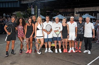 """NEW YORK, NY - AUGUST 24: Tennis Players Rafael Nadal, Serena Williams, Madison Keys, Nick Kyrgios, Maria Sharapova, Pete Sampras, Andre Agassi, Genie Bouchard, Roger Federer, Grigor Dimitrov and John McEnroe attends Nike's """"NYC Street Tennis"""" event on August 24, 2015 in New York City. (Photo by Brad Barket/Getty Images)"""