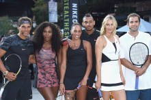 """NEW YORK, NY - AUGUST 24: (L-R) Tennis players Rafael Nadal, Serena Williams, Madison Keys, Nick Kyrgious, Maria Sharapova, and Pete Sampras attend Nike's """"NYC Street Tennis"""" event on August 24, 2015 in New York City. (Photo by Gary Gershoff/WireImage)"""