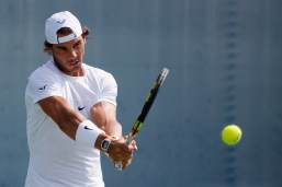 CINCINNATI, OH - AUGUST 17: Rafael Nadal of Spain practices during Day 3 of the Western & Southern Open at the Linder Family Tennis Center on August 17, 2015 in Cincinnati, Ohio. (Photo by Rob Carr/Getty Images)