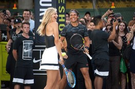 """NEW YORK, NY - AUGUST 24: Maria Sharapova (L) and Rafael Nadal attend Nike's """"NYC Street Tennis"""" event on August 24, 2015 in New York City. (Photo by D Dipasupil/FilmMagic)"""