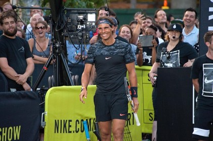 """NEW YORK, NY - AUGUST 24: Rafael Nadal attends Nike's """"NYC Street Tennis"""" event on August 24, 2015 in New York City. (Photo by D Dipasupil/FilmMagic)"""