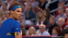 Rafael Nadal in action against Youzhny at the Rogers Cup in Montreal R3