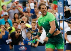 Rafael Nadal, of Spain, reacts after beating Diego Schwartzman, of Argentina, during the second round of the U.S. Open tennis tournament, Wednesday, Sept. 2, 2015, in New York. (AP Photo/Frank Franklin II)