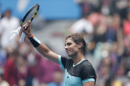 Rafael Nadal of Spain celebrates winning his match against Wu Di of China during the Men's singles first round match on day four of the 2015 China Open at the China National Tennis Centre on October 6, 2015 in Beijing, China. (Oct. 5, 2015 - Source: Lintao Zhang/Getty Images AsiaPac)