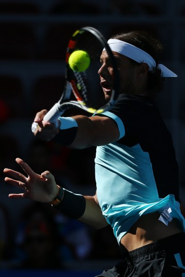 BEIJING, CHINA - OCTOBER 09: Rafael Nadal of Spain plays a forehand in his match against Jack Sock of the USA on day 7 of the 2015 China Open at the National Tennis Centre on October 9, 2015 in Beijing, China. (Photo by Chris Hyde/Getty Images)