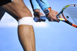 BASEL, SWITZERLAND - OCTOBER 31: Rafael Nadal of Spain knee after he has received treatment during the sixth day of the Swiss Indoors ATP 500 tennis tournament against Richard Gasquet of France at St Jakobshalle on October 31, 2015 in Basel, Switzerland. (Photo by Harold Cunningham/Getty Images)