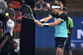 BANGKOK, THAILAND - OCTOBER 02: Rafael Nadal of Spain hits the ball during the Rafael Nadal v Novak Djokovic exhibition match at Hua Mark Indoor Stadium on October 2, 2015 in Bangkok, Thailand. (Photo by Thananuwat Srirasant/Getty Images)