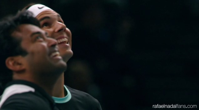 Leander Paes and Rafael Nadal in action against Robert Lindstedt and Dominic Inglot at Paris Masters