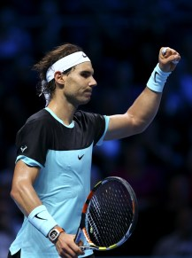 LONDON, ENGLAND - NOVEMBER 18: Rafael Nadal of Spain celebrates victory in his men's singles match against Andy Murray of Great Britain during day four of the Barclays ATP World Tour Finals at the O2 Arena on November 18, 2015 in London, England. (Photo by Clive Brunskill/Getty Images)