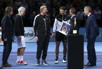 Mats Wilander, John McEnroe, Boris Becker, Rafael Nadal and Chris Kermode present Lleyton Hewitt (2nd right) with the ATP Roll of Honour during day four of the Barclays ATP World Tour Finals at the O2 Arena on November 18, 2015 in London, England. (Nov. 17, 2015 - Source: Clive Brunskill/Getty Images Europe)