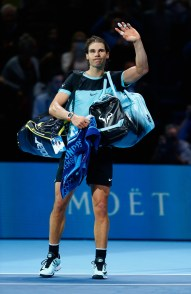 LONDON, ENGLAND - NOVEMBER 21: Rafael Nadal of Spain leaves the court after losing against Novak Djokovic of Serbia in the semi final during the Barclays ATP World Tour Finals on Day Seven at O2 Arena on November 21, 2015 in London, England. (Photo by Julian Finney/Getty Images)